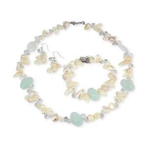 Fresh Water Pearl Crystal Pastel Fashion Jewelry Set Jewelry