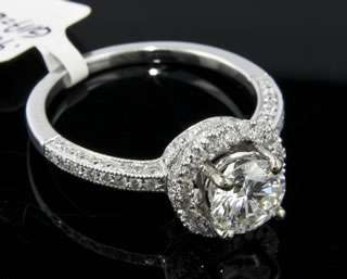 95 CT F SI1 GIA Round Diamond 14k White Gold Ring