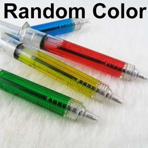 2x Needle Tube Injection Shaped BallPoint Pen Writing