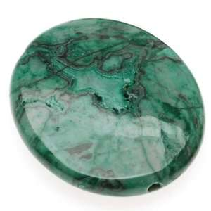 Green Laguna Lace Agate (Dyed) Oval Focal Beads 24x30mm (4