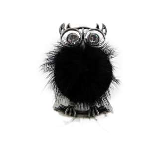 Fuzzy Owl Stretch Ring Faux Fur Elastic Band Black Oversize Large
