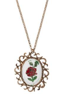 Rose Window Necklace   White, Gold, Red, Green, Flower, Casual