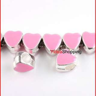 15 x Silver Plated Pink Enamel Heart Charms Beads Fit European