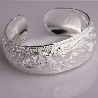 White Silver Embosse Flower Leaf Cuff Bracelet Bangle