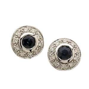 14kt White Gold Sphere Blue Sapphire Diamond Earrings