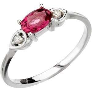 14K White Gold 6X4Mm .03Cttw Pink Tourmaline & Diamond Ring Jewelry