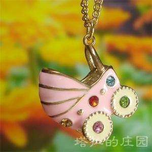 New Arrived Vintage Style Necklaces Lovely Baby Carriage Pendants Pink