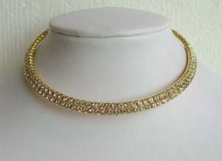 VARY COLORS 2 ROW SWAROVSKI CRYSTAL SILVER & GOLD CHOKER NECKLACE