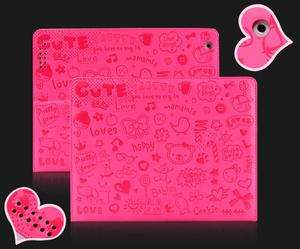 Cute Pink Lovely Leather Case Cover For ipad 2