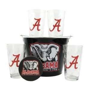 Alabama Crimson Tide Glasses and Beer Bucket Set  Alabama Beer