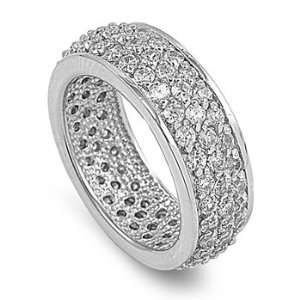 Sterling Silver Cubic Zirconia Eternity Ring Size 7 Jewelry