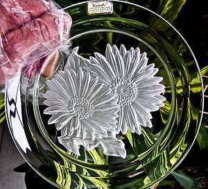 lead crystal art glass E daisy signed T.Yammamato Hoya plate Japan 080
