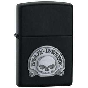 ZIPPO ZI20582 Black Matte, Harley Davidson Skull Emblem