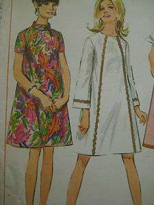 Vintage Simplicity 7431 DEMI TENT DRESS HIGH NECK Sewing Pattern Women