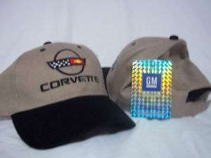 GM Chevrolet Chevy Corvette Hat Cap Logo Emblem C4 C 4 Tan Black