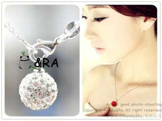 Shining White 10mm Swarovski Crystal Disco Ball Pendant Silver
