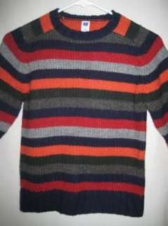 Gap Striped Colorful Wool Sweater Boys Small 5 6 EUC