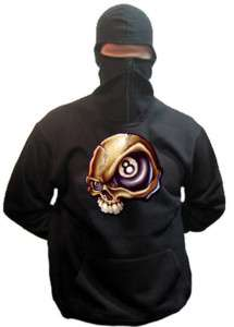 18N Ninja Hoodie Biker Punk Rock 8Ball Billard Skull