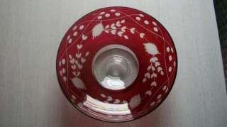 Vintage Floral Design Ruby Flash Glass Lg Footed Bowl