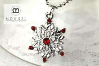 F598 Red Crystal Snowflake Charm Pendant Necklace (+Gift Box)