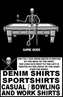 SKULL SKELETON GAME OVER POOL PLAYER CUE BALL T SHIRT