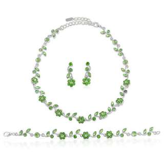 BRIDAL WEDDING NECKLACE EARRINGS BRACELET SET GREEN NEW