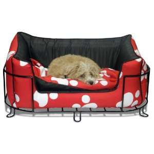 Pets White Paw Dog Bed with Metal Bed Frame Small: Pet Supplies
