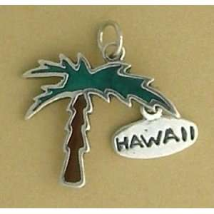 Enameled Green/Brown Palm Tree w/HAWAII, 7/8 inch, 2.8 grams: Jewelry