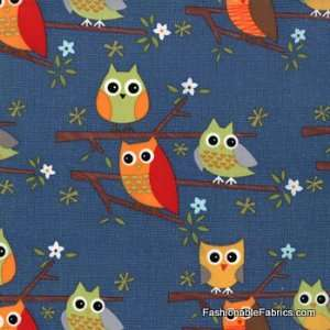 Ten Little Things Owls on Navy by Moda Arts, Crafts