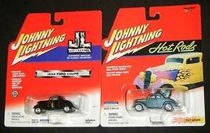 1934 FORD COUPE & 1937 COUPE Johnny Lightning Die Cast Hot Rod