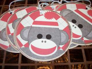 RED Sock Monkey ROUND Tags Hang / Gift Tags (728)