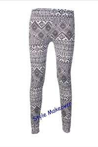 New Women Contrast Striped Tribal Coloured Aztec Print Leggings