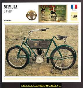 1905 STIMULA 2 3/4 HP France MOTORCYCLE ATLAS SPEC CARD