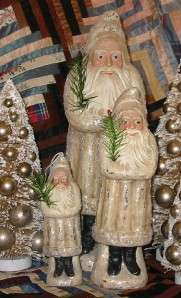 Vintage Style 13 in Ivory Belsnickle Santa Paper Mache