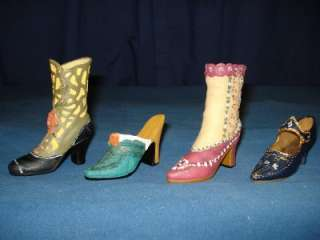 Set Lot 4 Victorian Miniature Shoes Ankle Boots New JFR1