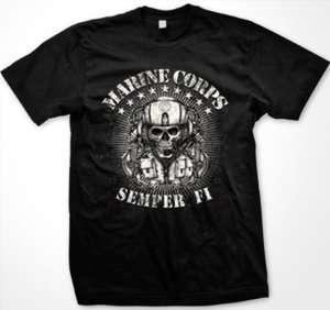 Marine Corps Semper Fi Womens Ladies T Shirt Skull In Helmet USMC