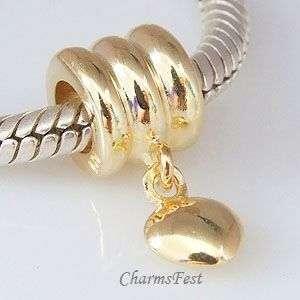 925 Silver GP Dangle Heart Bead European Charm Bracelet