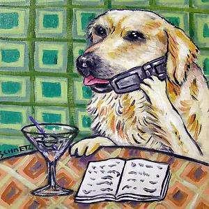 Golden Retriever cell phone dog art animal tile coaster