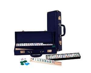 New American Standard Mahjong Mahjongg Set w. Navy Blue Leather