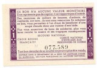 FRANCE 1 Franc 1943 UNC * Bon de solidarité PETAIN