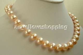 AAA 12mm pink Freshwater Pearl necklace14K gold clasp