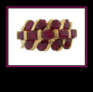 Ladies 14K Solid Yellow Gold Natural Ruby Fashion Ring