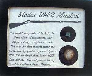 Original Civil War Bullets in Matted Display Case Model 1842 Musket