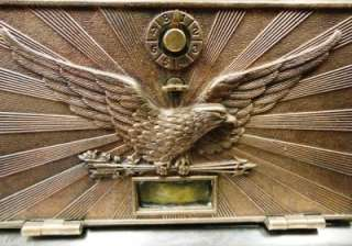 Antique Bronze U.S. Post Office Mail Box Door Flying Eagle Plate Large