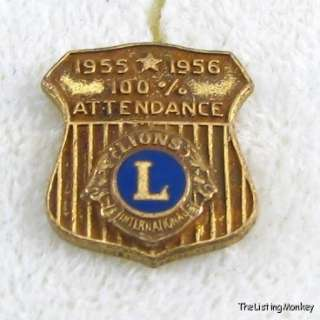 LIONS CLUB INTERNATIONAL   Attendance Award 1955 56 PIN