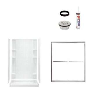 48 in. x 34 in. x 75 3/4 in. Tile Shower Kit in White with Chrome Trim