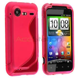 New Hot Pink TPU Gel Skin Soft Rubber Case Cover For HTC Incredible 2