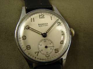 CLASSIC BUCHERER MILITARY STYLE MENS WATCH RADIUM NUMBERS VINTAGE