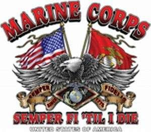 MARINES MARINE CORPS USMC SEMPER T SHIRT TEE 2 SIDED