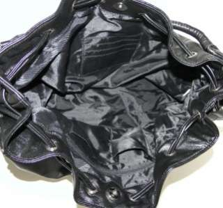 DIVIDED SPARROW BLACK FAUX LEATHER PVC LARGE SHOPPER HOBO BAG